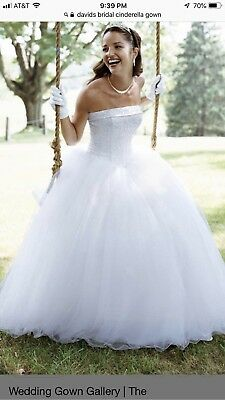 Davids Bridal Cinderella Ball Gown Wedding Dress And Veil Size 12 - Cinderella Bridals