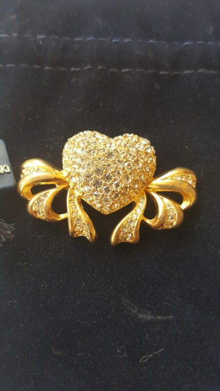 Swarovski Swan Signed Gold Tone Clear Crystals Heart Brooch