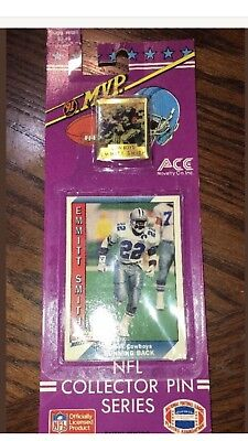 1991 Ace Novelty NFL Collector Pin/Football card Series- Emmit Smith NIP