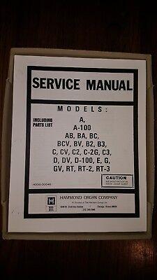 Used, HAMMOND ORGAN SERVICE MANUAL A 100 AB BA BC BCV BV B2 B 3 C CV C2 C2G C3 D DV RT for sale  Shipping to Canada