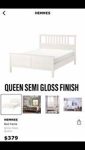 IKEA HEMNES QUEEN BED FRAME AND SLATS SEMI GLOSS SATIN FINISH