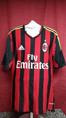 Adidas AC Milan Climacool Fly Emirates Red Black Soccer Jersey MENS SMALL