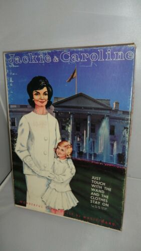 JACKIE & CAROLINE PAPER DOLLS  UNCUT  BOX IS WORN BUT IN GOOD CONDITION.