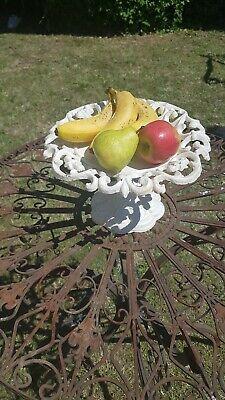 French ShabbyChic Cream Cast Iron Fruit Bowl Display Bowl Candy Bowl Sweet Bowl
