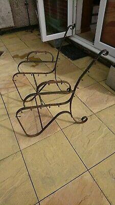 Antique Victorian Wrought Iron Garden Chair / Seat - Salvaged Rustic Strapwork
