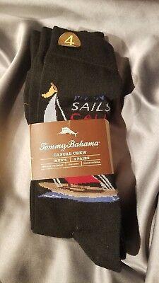 Tommy Bahama Sailing Yacht 4 Pack Casual Crew Socks Black ~ SHIPS FREE!