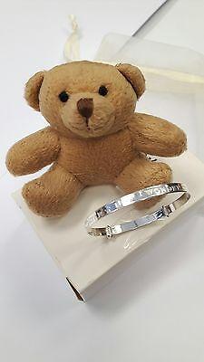 925 Sterling Silver Teddy Bear Expanding Baby's Bangle  Christening Bracelet
