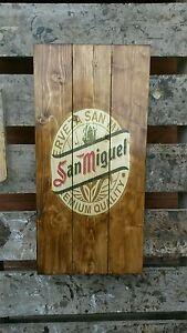 San Miguel sign plaque wooden sign  mancave shed bar pub