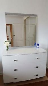 Glossy white dresser/chest of drawers with mirror Eastlakes Botany Bay Area Preview