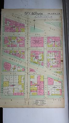 1892 Map of NW DC- Freedom Plaza Area - Rare large property specific detail