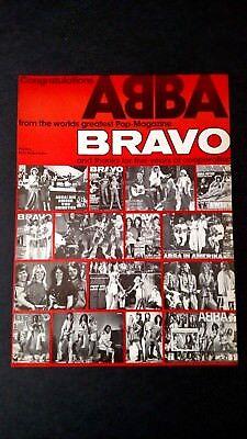 ABBA  CONGRATULATIONS FROM BRAVO MAG. 1979 RARE ORIGINAL PRINT PROMO POSTER AD for sale  Shipping to Canada