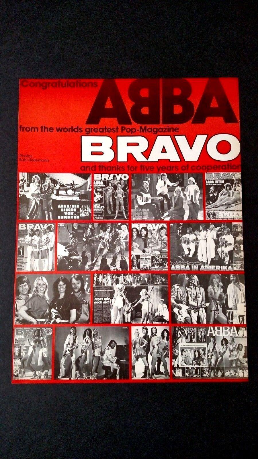 ABBA CONGRATULATIONS FROM BRAVO MAG. 1979 RARE ORIGINAL PRINT PROMO POSTER AD