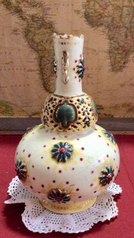 RARE 1870-1890's ZSOLNAY PECS Hungarian Porcelain Pierced Persian Vase #1841