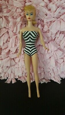 Vintage Blonde Ponytail Barbie 5  With Original Swimsuit TLC Vintage 60's