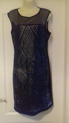 LADIES BLACK & SILVER SLEEVELESS DRESS ROMAN SIZE 14 EVENING WEAR