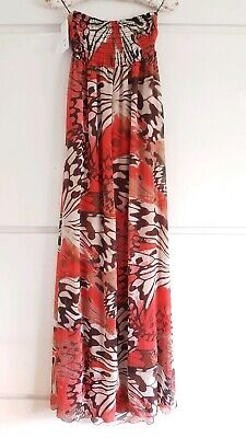 Ladies John Zack Butterfly Animal Print Maxi holiday beach dress size M/L UK 12