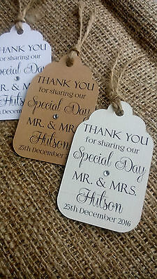 10 Personalised Wedding Favour Gift Tags