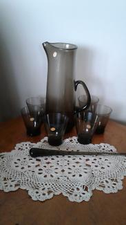 Vintage martini jug and glasses and stirrer
