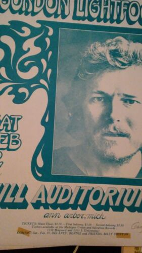 Gordon Lightfoot Feb 12, 1972 original proof concert poster signed by g grimshaw