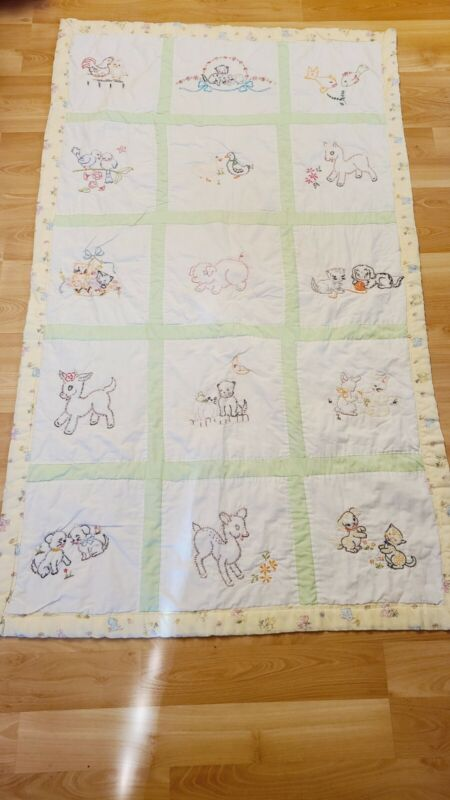 "Vintage Baby Quilt Handmade Embroidered 35.5"" x 62"" Animals Bunnies"