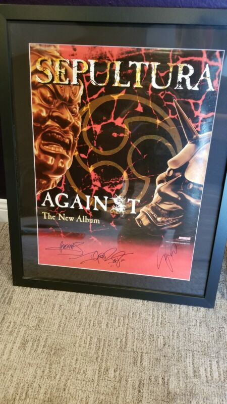 "SEPULTURA SIGNED ""AGAINST"" 18"" X 24"" POSTER. AUTOGRAPHED BY 3."
