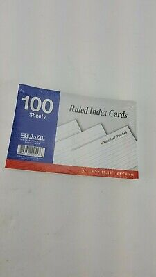100 Sheet Ruled Index Cards White 4 X 6 Standard Ruled Front Plain Back
