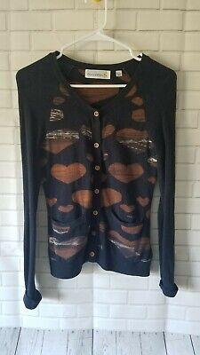 Anthropologie Charlie & Robin Navy Lovisa Heart Cardigan Sweater Navy Brown XS