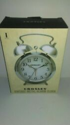 CROSLEY TIMELINK Alarm Clock Vintage Type Metal Non-Ticking Silver Twin Bell NEW