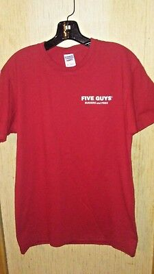 Five Guys Burgers And Fries Fast Food Fan T Shirt Red New  Free Shipping   Htf