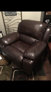 Brown leather power reclining chair