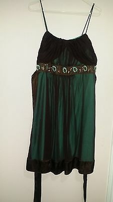 City Triangles Brown and Aqua Green Sheer Beaded Party Dress Size 1X (Party City Beads)