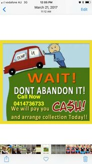 CASH FOR UNWANTED SCRAP OLD DAMAGE CARS VAN UTE TRUCK 4X4CALL NOW