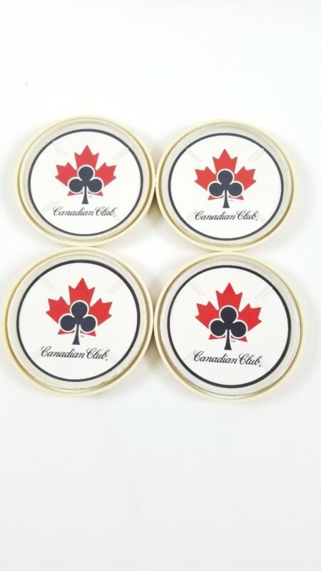 Vintage Set of 4 Canadian Club Classic Whiskey  Hard Plastic Round Coasters