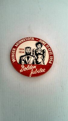 Vintage Button PinBack Winger,MN Golden Jubilee 1904-1954 GraphicLogos Excellent