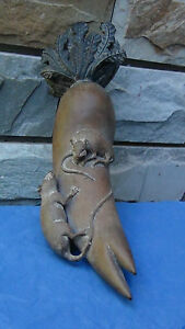 ANTIQUE-18C-CHINESE-VERY-RARE-WOOD-HAND-CARVED-STATUE-RATS-ON-THE-REDISH-signed