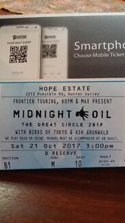 Midnight oil tickets X 2 - Hunter Valley