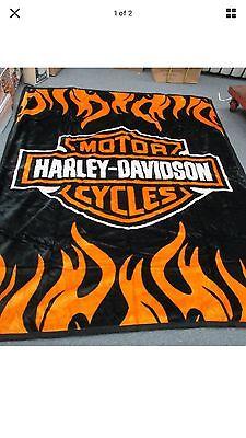 Harley Davidson Queen Size Double Side Plush Reversible Blanket 85 x 69 huge!!!