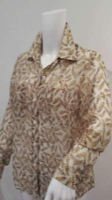 Womens Holly Willoughby Size Uk 8 Collared Ivory Brown Top Blouse Shirt