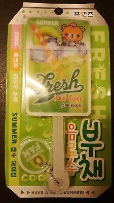 Kiwi Juice - Korean Fresh Kiwi Juice Summer Folding Hand Fan cute bear friends