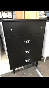 BLACK 4 DRAWER SOLID WOOD UPRIGHT DRESSER