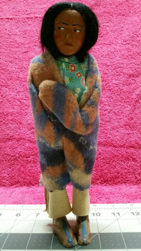 Vintage Native American Straw Doll Female In Blanket Real Hair Handmade Skookum