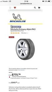 215/45/R17 MICHELIN PRIMACY ALPIN HIVER WINTER 340$/4tires4pneus