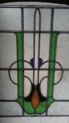 ANTIQUE STAINED GLASS PANEL