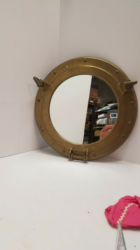 Vintage Salvaged Nautical Brass Porthole Mirror