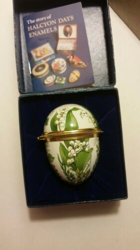 """HALCYON DAYS ENAMELS """"Lily of the Valley"""" Hinged Egg Trinket Box w/box"""