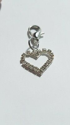 Clear Crystal Metal Heart Pet Dog Collar Charm with Lobster Clasp  Heart Dog Pet Collar Charm