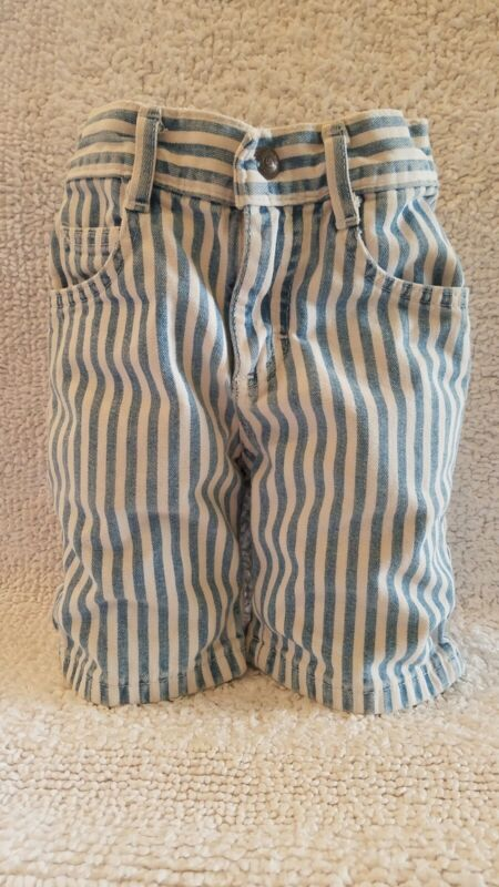Lee Jeans Vintage Hi Waist 4 Slim Bermuda Shorts Striped Blue/White