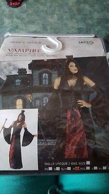 VAMPIR DAMEN KOSTÜM: Kleid Größe M mit Halsband, Kopfschmuck, (Vampir Kostüme Schmuck)