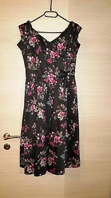 Lady V London Harriet Dress black/pink Roses, UK10/Gr.36, Rockabilly ()