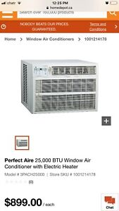 Perfect Aire 25,000 BTU Window Air Conditioner W/Electric Heater